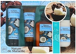 Духи, Парфюмерия, косметика Набор - Nature de Marseille Cocos (sh/gel 100ml +cr/60ml + balsam 150ml + soap 90g)