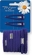 Духи, Парфюмерия, косметика Набор заколки и резинки для волос, фиолетовый 2+12 шт - Top Choice
