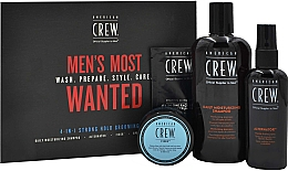 Духи, Парфюмерия, косметика Набор - American Crew Men's Most Wanted Strong Hold (shm/250ml + cr/50g + spray/100ml + balm/7.4ml)