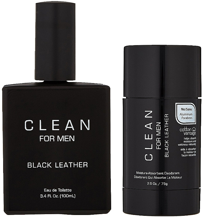 Набор - Clean Black Leather Men (edt/100ml + deo/75ml) — фото N4