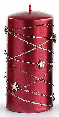 Декоративная свеча, бордовая, 7x18 см - Artman Christmas Garland — фото N1