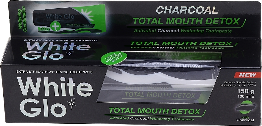 Набор с черно-белой щеткой - White Glo Charcoal Total Mouth Detox (toothpaste/150g + toothbrush) — фото N1