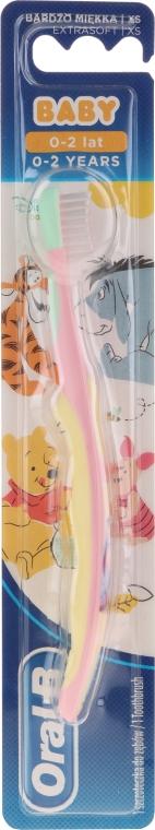 """Зубная щетка, экстра мягкая, """"Ослик Иа-Иа"""", розово-желтая - Oral-B Baby — фото N1"""