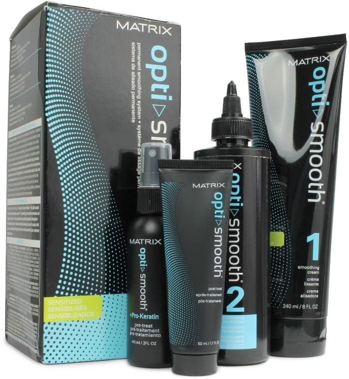 Набор - Matrix Opti Smooth Sensitized Kit (cr/240ml + neutralizer/240ml + pre-treat/60 ml + post-treat/50ml) — фото N1