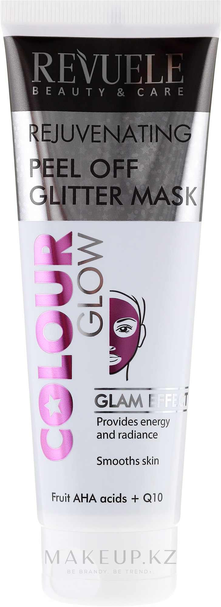 Розовая омолаживающая маска-плёнка - Revuele Color Glow Glitter Mask Pell-Off Rejuvenating — фото 80 ml