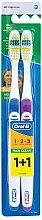 Духи, Парфюмерия, косметика Набор зубных щеток (средняя, синяя+фиолетовая) - Oral-B 1 2 3 Maxi Clean 40 Medium 1+1