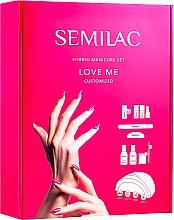 Духи, Парфюмерия, косметика Стартовый набор для покрытия ногтей гель-лаком - Semilac Love Me Starter Set (n/base/7ml+n/top/7ml+n/polish/7mlx3+n/top/3ml+aceton/50ml+n/cl/50ml+lamp + baff/1pc+n/file/1pc+n/sponge/250pc+sticks/10pc)