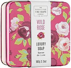 """Питательное мыло для тела в металлической коробке """"Дикая роза"""" - Scottish Fine Wild Rose Soap In A Tin — фото N1"""