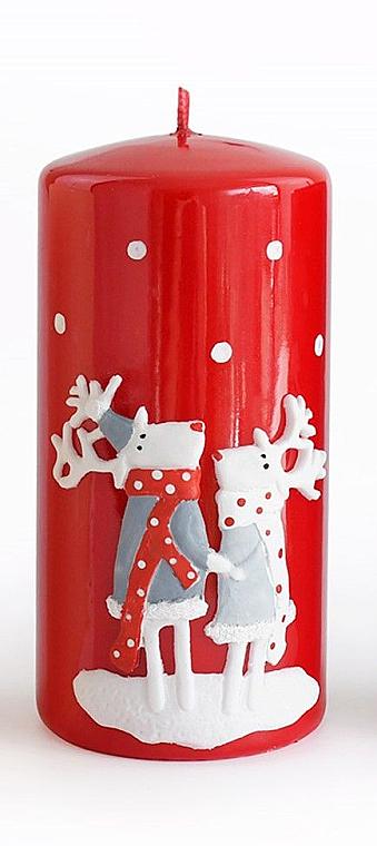 Декоративная свеча, красная, 7x14 см - Artman Reindeers — фото N1