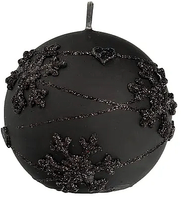 Декоративная свеча, шар, черная, 12 см - Artman Snowflake Application — фото N1