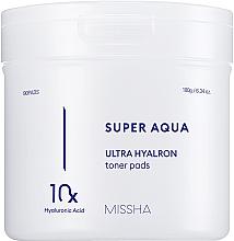 Духи, Парфюмерия, косметика Увлажняющие подушечки на основе комплекса с гиалуроновой кислотой - Missha Super Aqua Ultra Hyalron Toner Pads