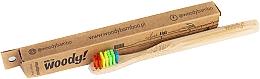 """Духи, Парфюмерия, косметика Детская бамбуковая зубная щетка """"Colour"""", разноцветная щетина - WoodyBamboo Bamboo Toothbrush Kids Soft/Medium"""