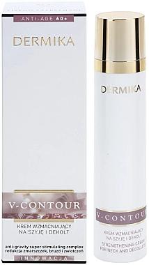 Укрепляющий крем для шеи и декольте - Dermika V-Contour Cream 60+ — фото N1