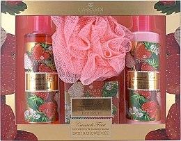 Духи, Парфюмерия, косметика Набор - Cassardi Fruit Strawberry And Pomegranate (b/lot 250ml + sh/gel/250ml + salf 100g + мочалка )