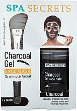Духи, Парфюмерия, косметика Набор - Spa Secrets Charcoal Gel Face Mask (mask/140ml + brush/mask/1pcs)