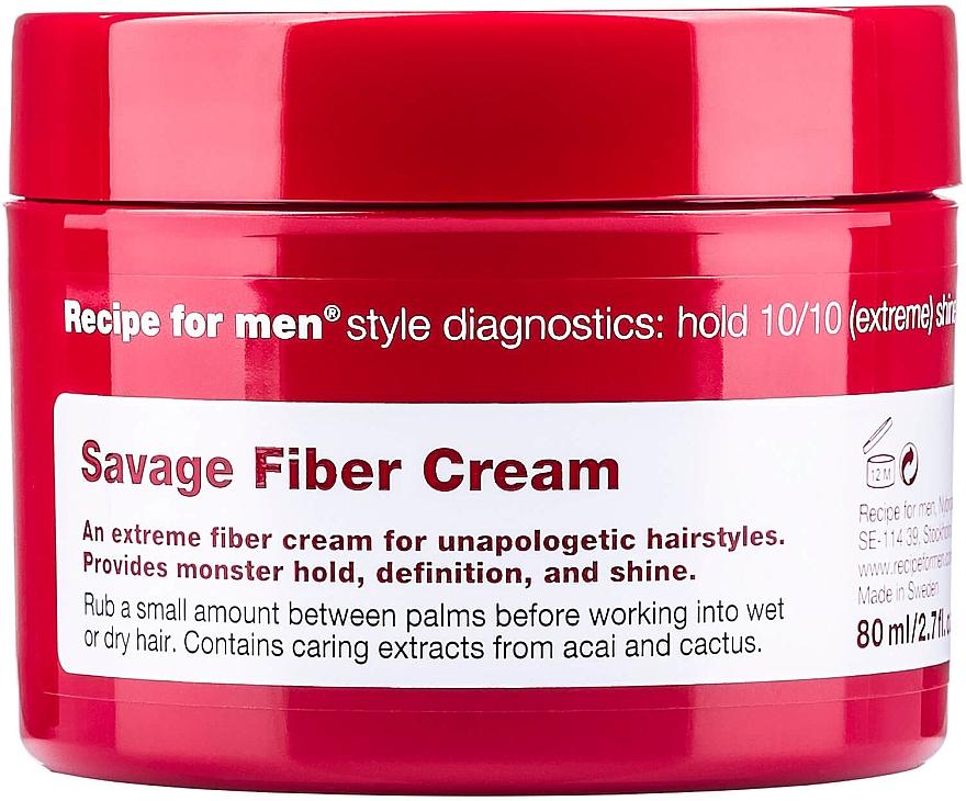 Крем для укладки волос экстрасильной фиксации - Recipe for Men Savage Fibre Cream — фото N1