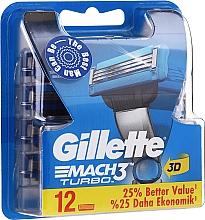 Духи, Парфюмерия, косметика Сменные кассеты для бритья, 12 шт. - Gillette Mach3 Turbo