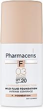 Духи, Парфюмерия, косметика Деликатный тональный флюид SPF20 - Pharmaceris F Intense Coverage Mild Fluid Foundation SPF20