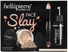 Духи, Парфюмерия, косметика Набор - Bellapierre Face Slay Kit Dark/Deep (stick/8.6g+powder/6.5g+spray/70ml+sponge/1pcs)