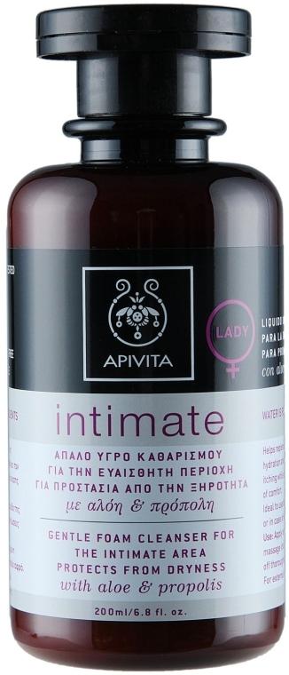 """Пенка для интимной гигигены """"Защита от сухости"""" с алоэ и прополисом - Apivita Intimate  — фото N2"""