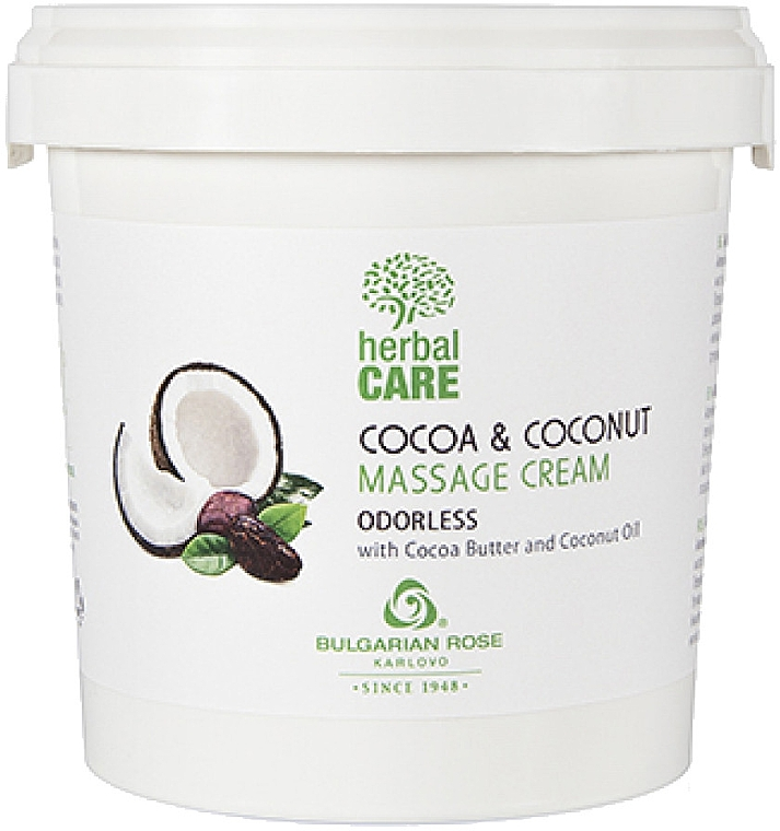 Массажный крем с какао и кокосом, без запаха - Bulgarian Rose Herbal Care Cocoa & Coconut Massage Cream Odorless — фото N1