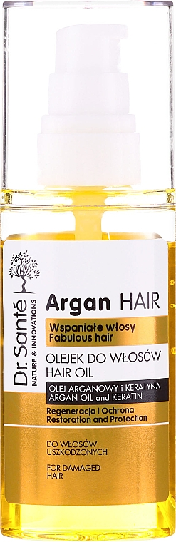 """Масло для волос """"Восстановление и Защита"""" с маслом арганы и кератином - Dr. Sante Argan Hair — фото N2"""