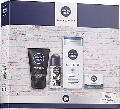 Духи, Парфюмерия, косметика Набор - Nivea Black & White 2020 (f/clean/100ml + antiperspirant/50ml + sh/gel/250ml + cream/50ml)
