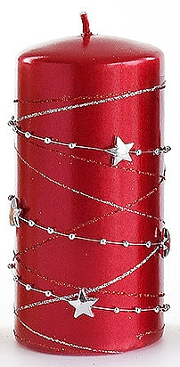 Декоративная свеча, красная, 7x10 см - Artman Christmas Garland — фото N1
