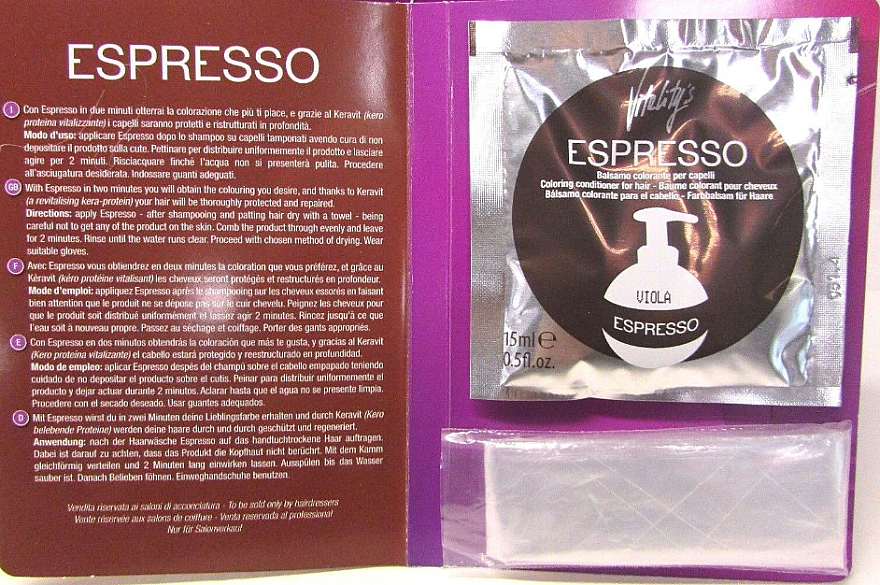 Бальзам с окрашивающим эффектом - Vitality's Art Espresso Coloring Conditioner For Hair (пробник) — фото N2