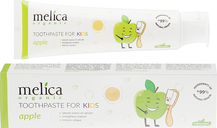 "Детская зубная паста ""Яблоко"" - Melica Organic Toothpaste For Kids Apple — фото N1"
