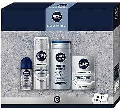 Духи, Парфюмерия, косметика Набор - Nivea Men Silver Protect 2020 (balm/100ml + foam/200ml + shower/gel/250ml + deo/50ml)