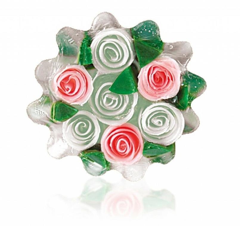 """Натуральное глицериновое мыло """"Роза"""" корзинка, бело-цикломеновый - Bulgarian Rose Glycerin Soap Rose Fantasy — фото N1"""