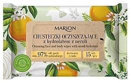 Духи, Парфюмерия, косметика Очищающие салфетки для лица и тела с гидролатом нероли, 15шт - Marion