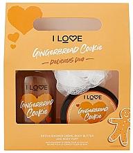 Духи, Парфюмерия, косметика Набор - I Love... Gingerbread Cookie Delicious Duo Gift Set (sh/cr/500ml+b/butter/200ml+washcloth)
