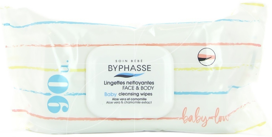 Детские влажные салфетки, 90 шт. - Byphasse Baby Cleansing Wipes Face and Body — фото N1