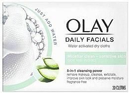 Духи, Парфюмерия, косметика Активированные водой сухие салфетки для чувствительной кожи - Olay Cleanse Daily Facials Cloths Sensitive