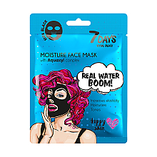 Маска для лица - 7 Days Total Black Moisture Real Water Boom — фото N1