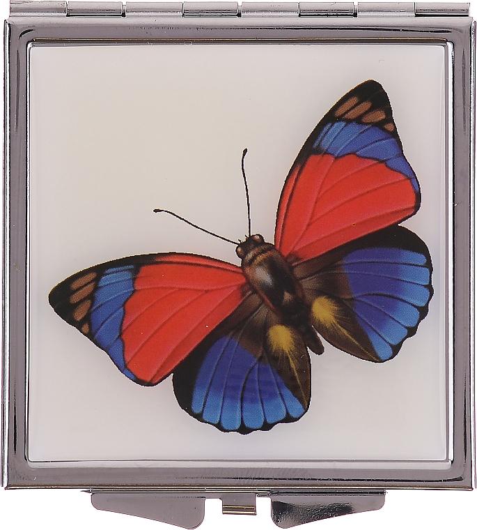 "Зеркальце косметическое, ""Бабочки"" 85420, красно-синее - Top Choice — фото N1"