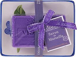 Духи, Парфюмерия, косметика Натуральное мыло с керамической мыльницей - Le Chatelard Violet Soap