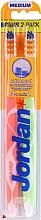 Духи, Парфюмерия, косметика Зубная щетка средняя Advanced, оранжевая+салатовая - Jordan Advanced Medium