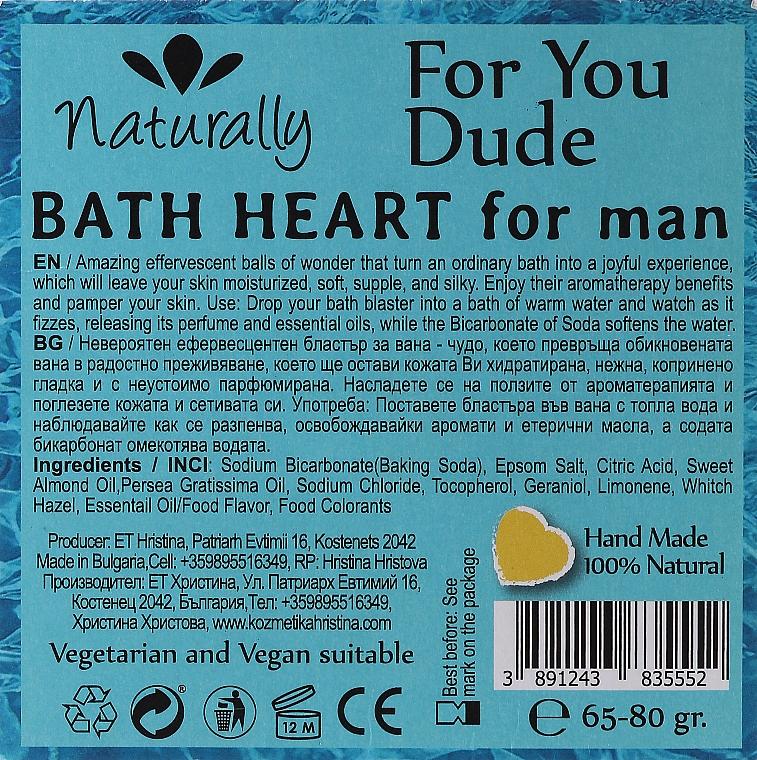 Бомбочка для ванны - Naturally For Yuo Due Bath Heart For Man — фото N2