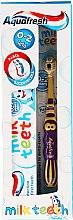 Духи, Парфюмерия, косметика Набор c желто-фиолетовой щеткой - Aquafresh Milk Teeth (t/paste 50 ml + t/brush)