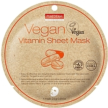 Духи, Парфюмерия, косметика Маска тканевая с витаминами - Purederm Vegan Sheet Mask Vitamin