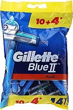 Духи, Парфюмерия, косметика Набор одноразовых станков для бритья, 10+4шт - Gillette Blue II Plus