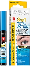 Духи, Парфюмерия, косметика Корректор для бровей - Eveline Cosmetics Eyebrow Therapy 8in1 Total Action ECorrector Gradually Coloring Eyebrow With Henna
