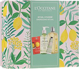 Набор - L'Occitane Energizing Ritual (f/scr/6ml + micel/water/200ml + sh/gel/250ml + h/cr/30ml) — фото N1