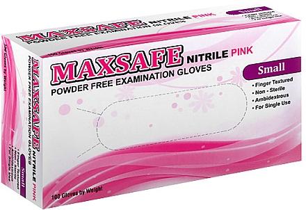 Перчатки нитриловые, неопудренные, розовые, размер S - Maxsafe — фото N1