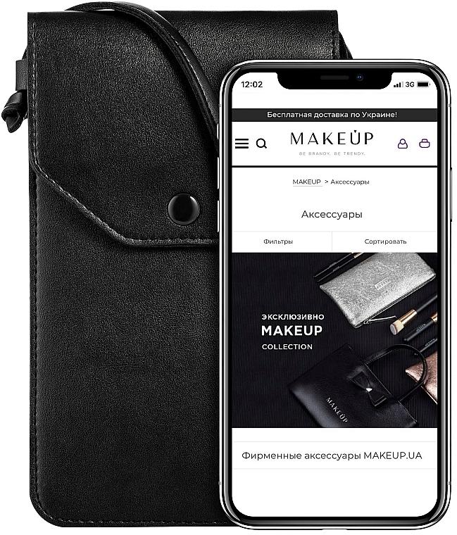 """Чехол-сумка для телефона на ремешке, чёрный """"Cross"""" - Makeup Phone Case Crossbody Black — фото N1"""