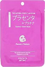 """Духи, Парфюмерия, косметика Тканевая маска для лица """"Плацента и нано-частицы платины"""" - Mitomo Essence Sheet Mask Placenta + Platinum"""