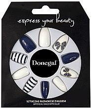 Духи, Парфюмерия, косметика Набор искусственных ногтей, синие с белым - Donegal Express Your Beauty